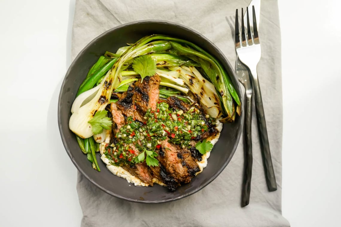Grilled Skirt Steak Chimichurri with Grilled Spring Onions