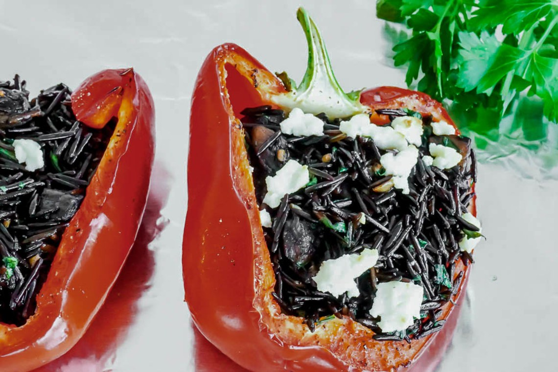 Wild Rice and Portobello-Stuffed Peppers