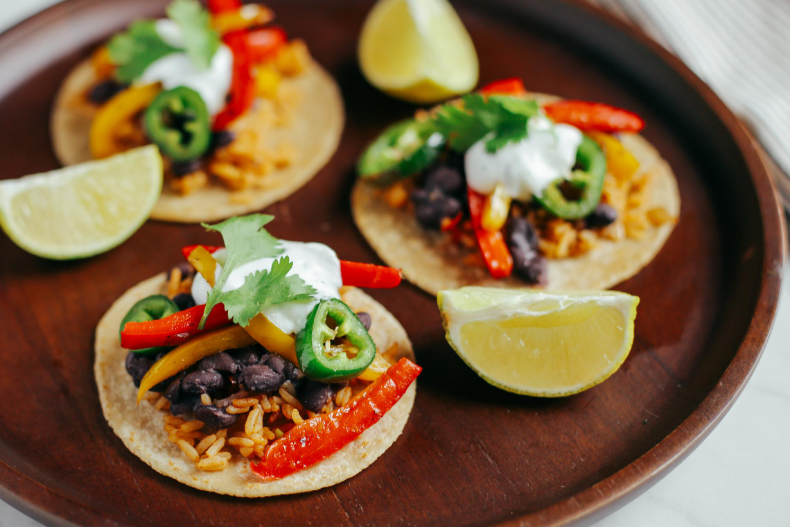 Vegetarian Tacos with Beans and Mexican Rice