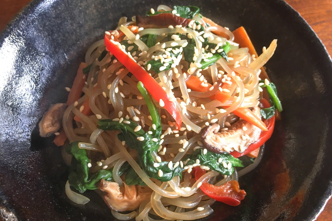 Korean Vegan Chap Chae (Stir-Fried Glass Noodles)