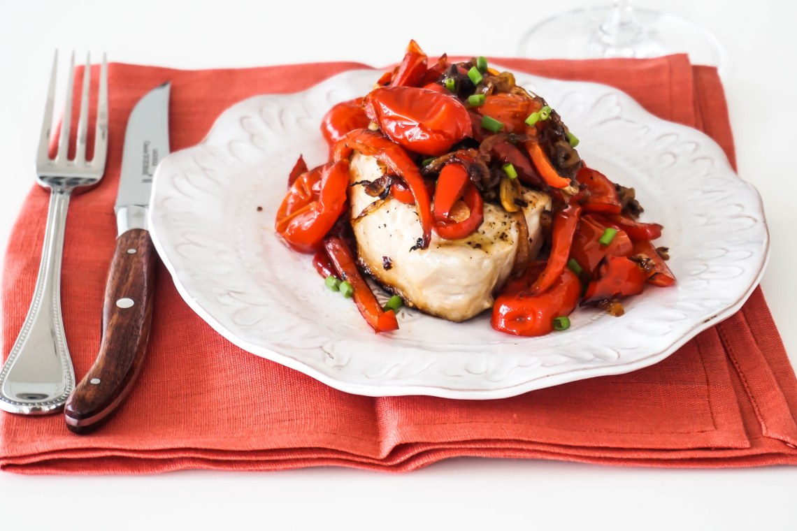 Grilled Pork Chops with Pickled Peppers and Onions