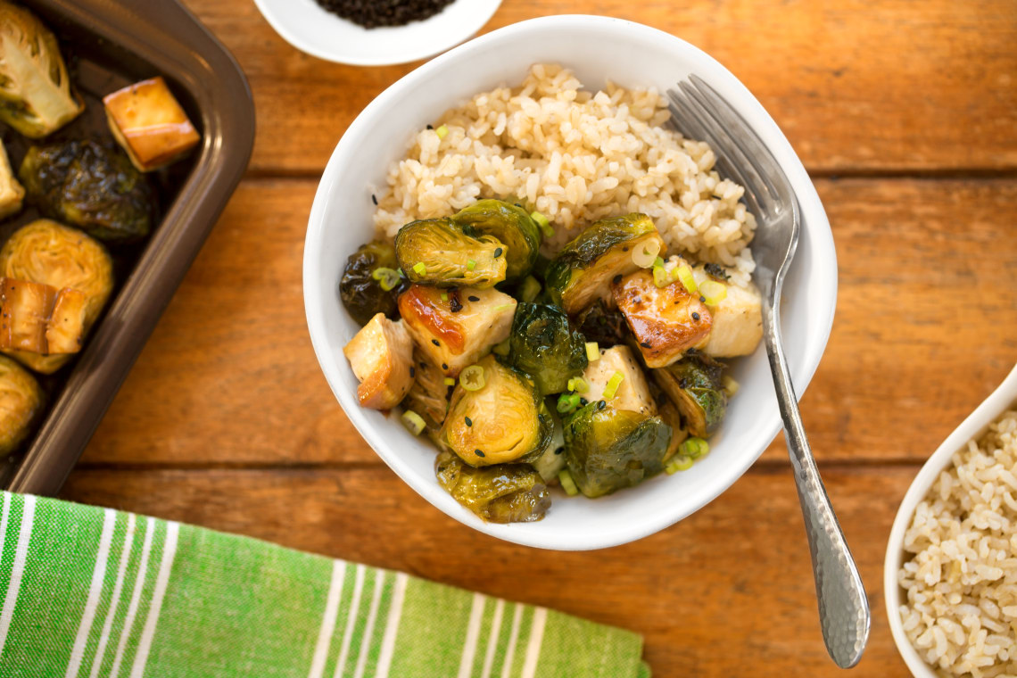 Sheet Pan Tofu and Brussels Sprouts with Sweet Sesame Glaze