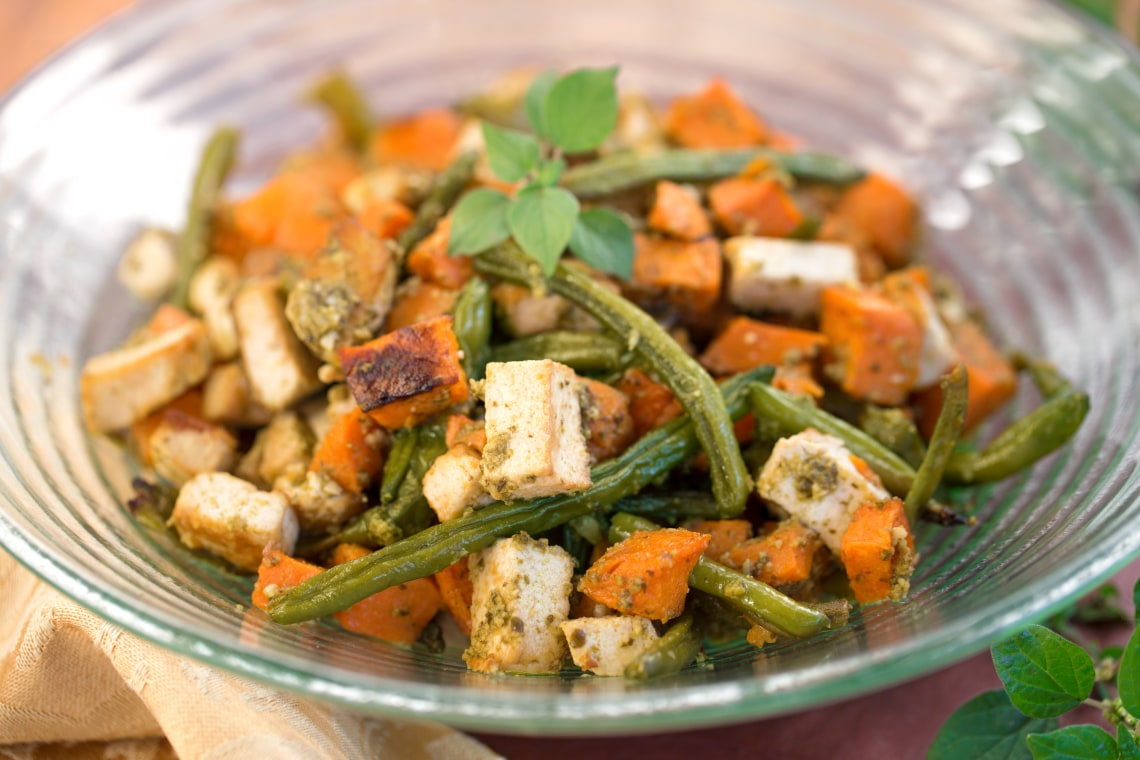 Roasted Tofu and Vegetables with Pecan Pesto