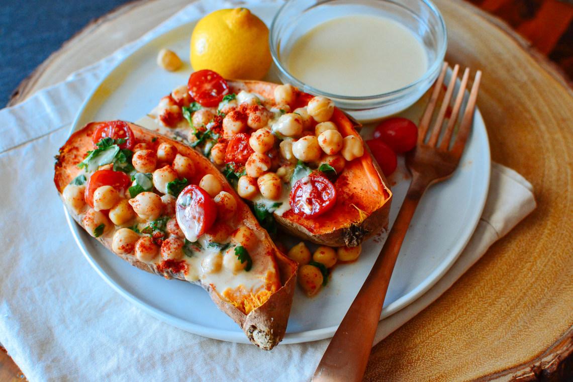 Mediterranean Baked Sweet Potatoes