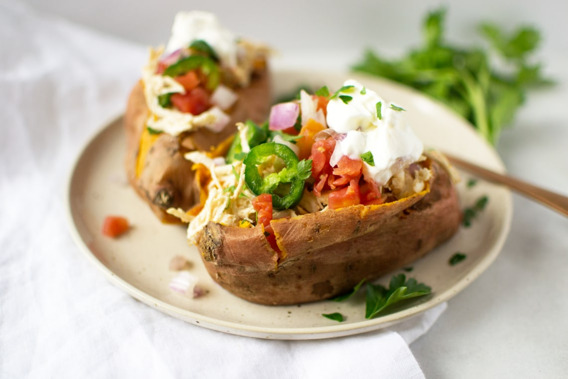 Pressure Cooker Mexican Stuffed Sweet Potatoes