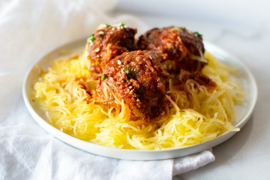 Pressure Cooker Turkey Meatballs and Spaghetti Squash