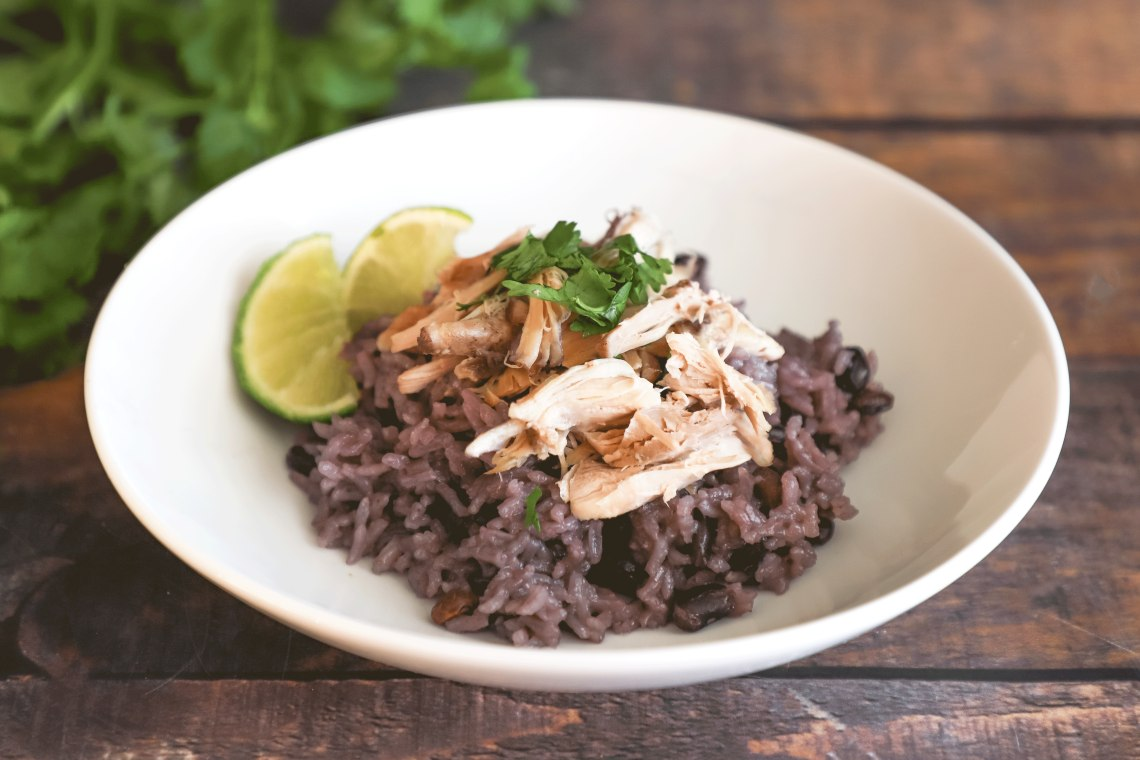 Pressure Cooker Shredded Chicken with Black Beans and Rice