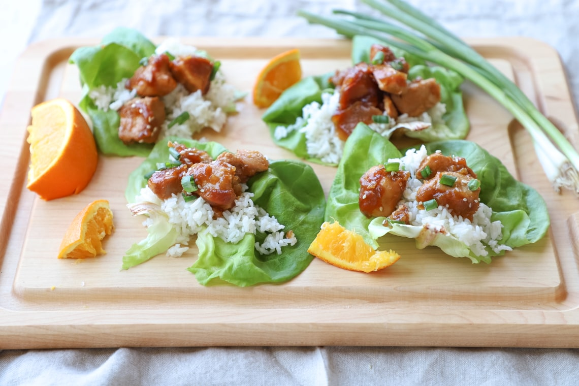 Pressure Cooker Orange Chicken Lettuce Wraps