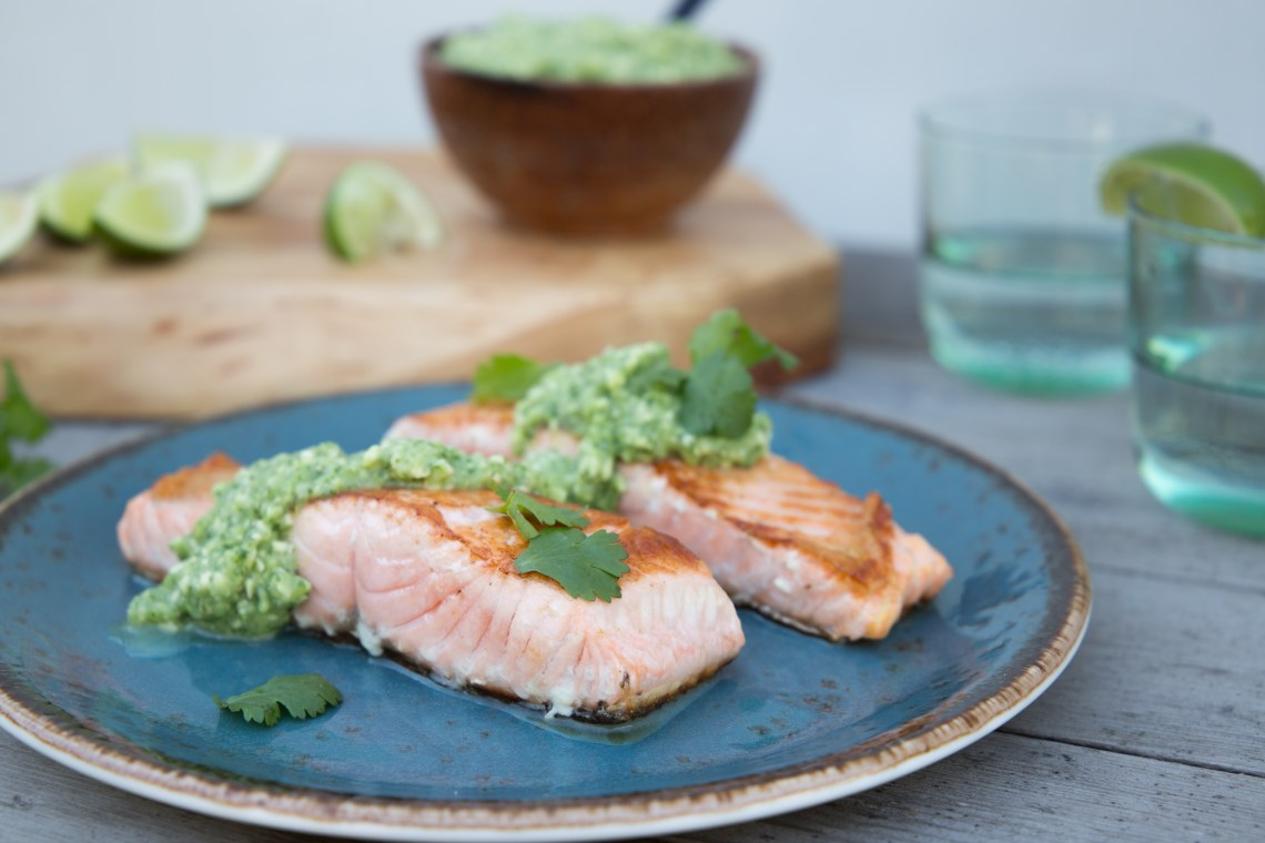 Salmon with Avocado Salsa Verde