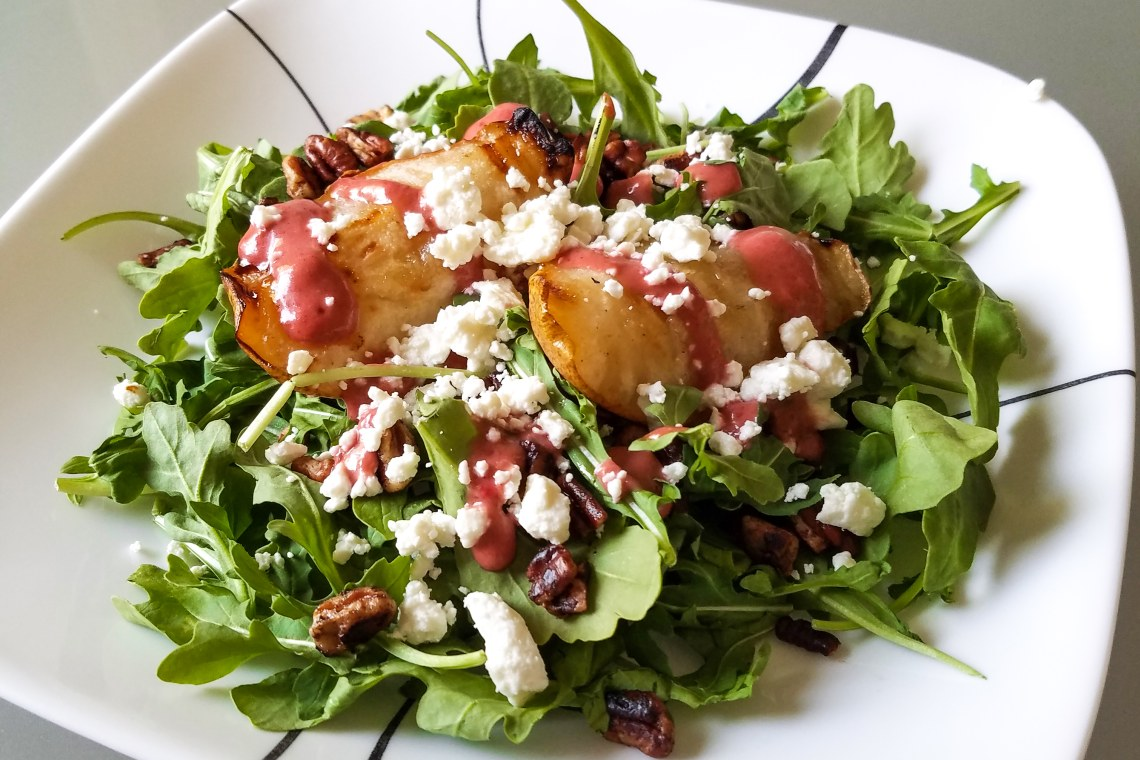 Grilled Pear Salad with Sweet and Tangy Raspberry Vinaigrette