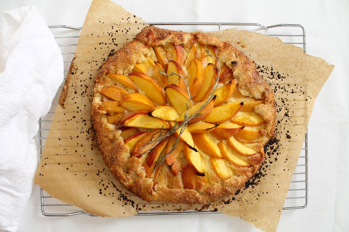 Peach and Rosemary Frangipane Galette