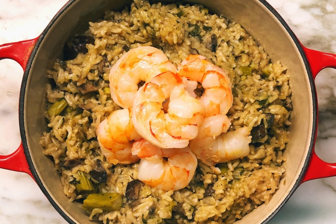 Pressure Cooker Coconut Brown Rice Risotto with Vegetables and Shrimp