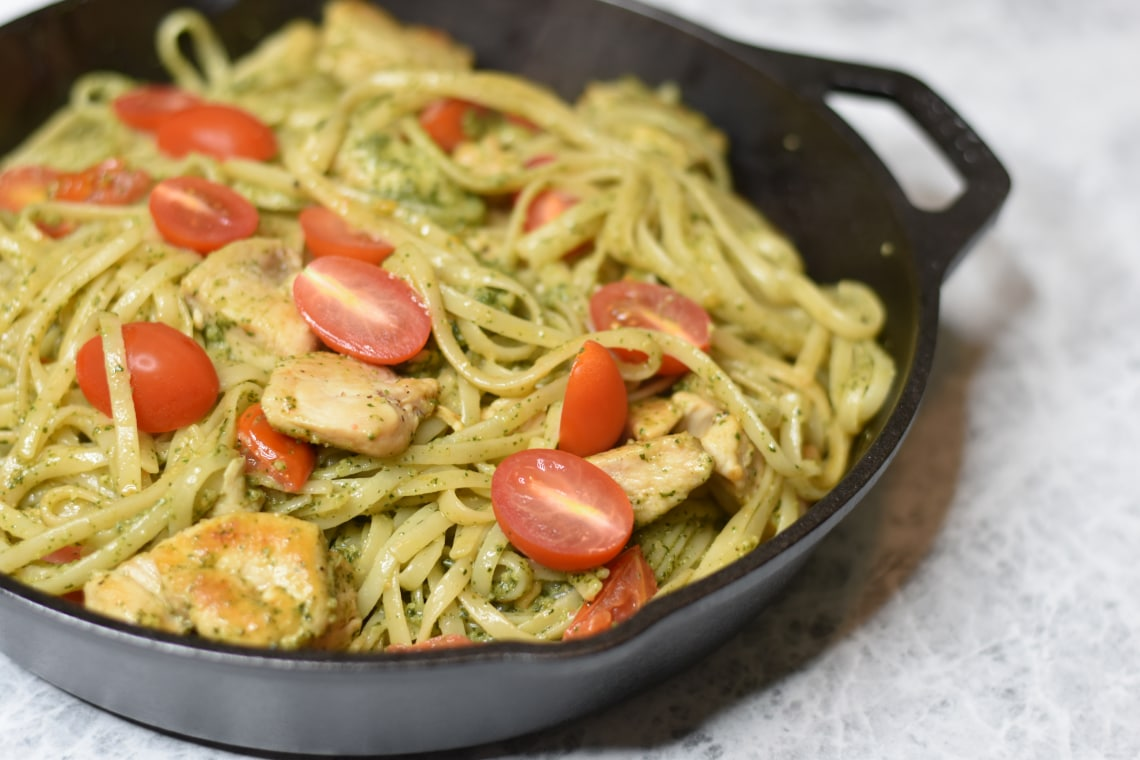 Skillet Pesto Chicken with Linguine