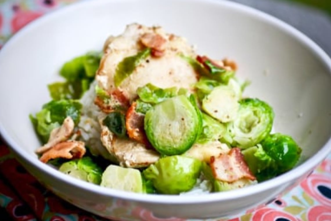 Pressure Cooker Chicken Thighs with Brussels Sprouts