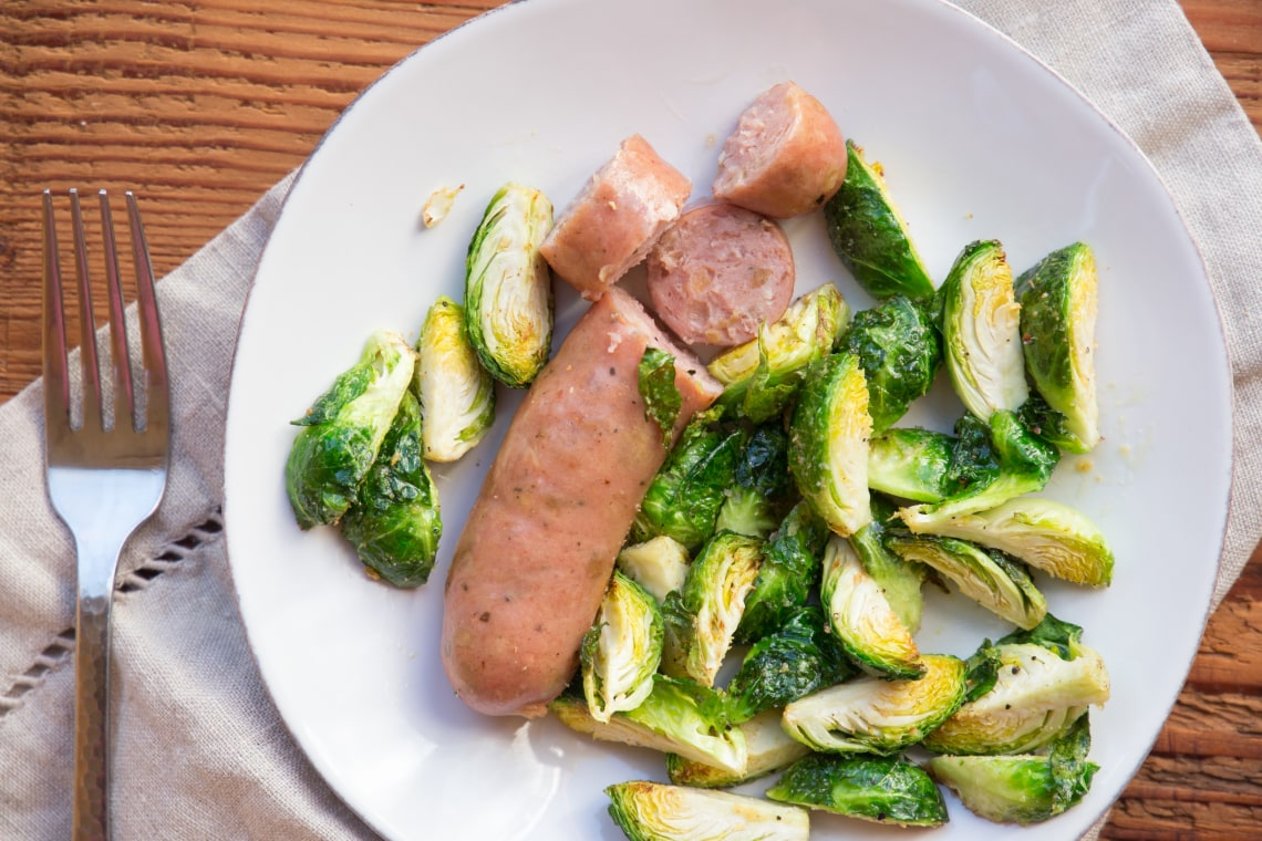 Air Fryer Chicken Sausage with Brussels Sprouts
