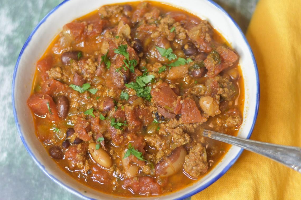 Pressure Cooker 3 Bean Chili Con Carne
