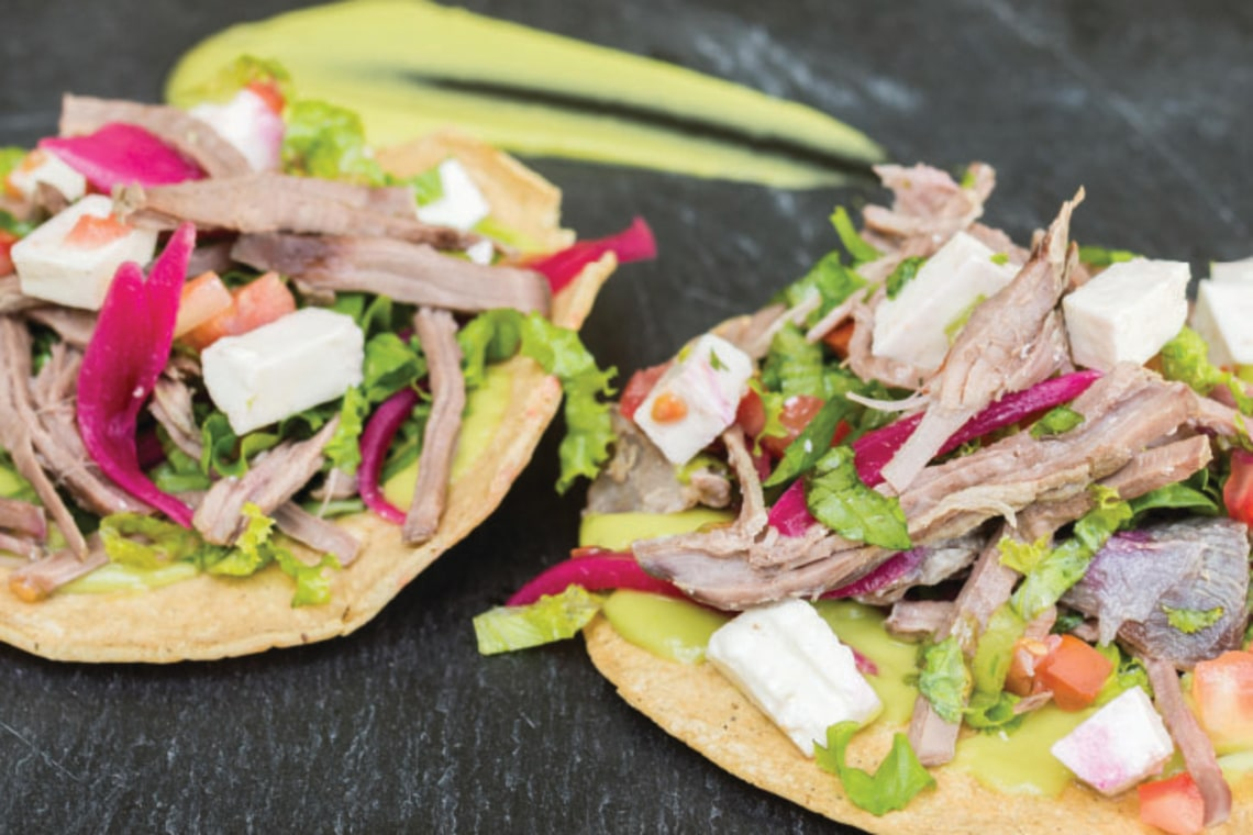 Pressure Cooker Authentic Mexican Beef Tostadas