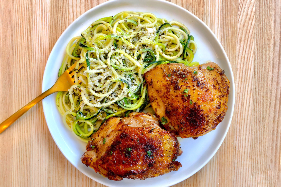 Pressure Cooker Crispy Chicken Thighs with Lemon Herb Zucchini Noodles