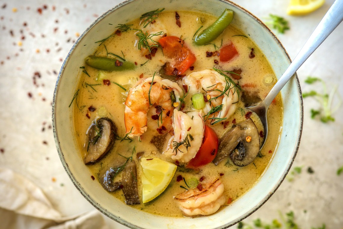 Pressure Cooker Coconut Lemon Dill Shrimp Soup