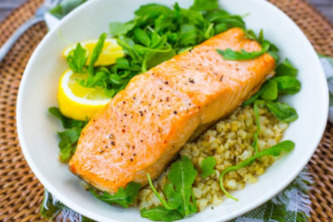 CrispLid Salmon and Cauliflower Rice Bowls