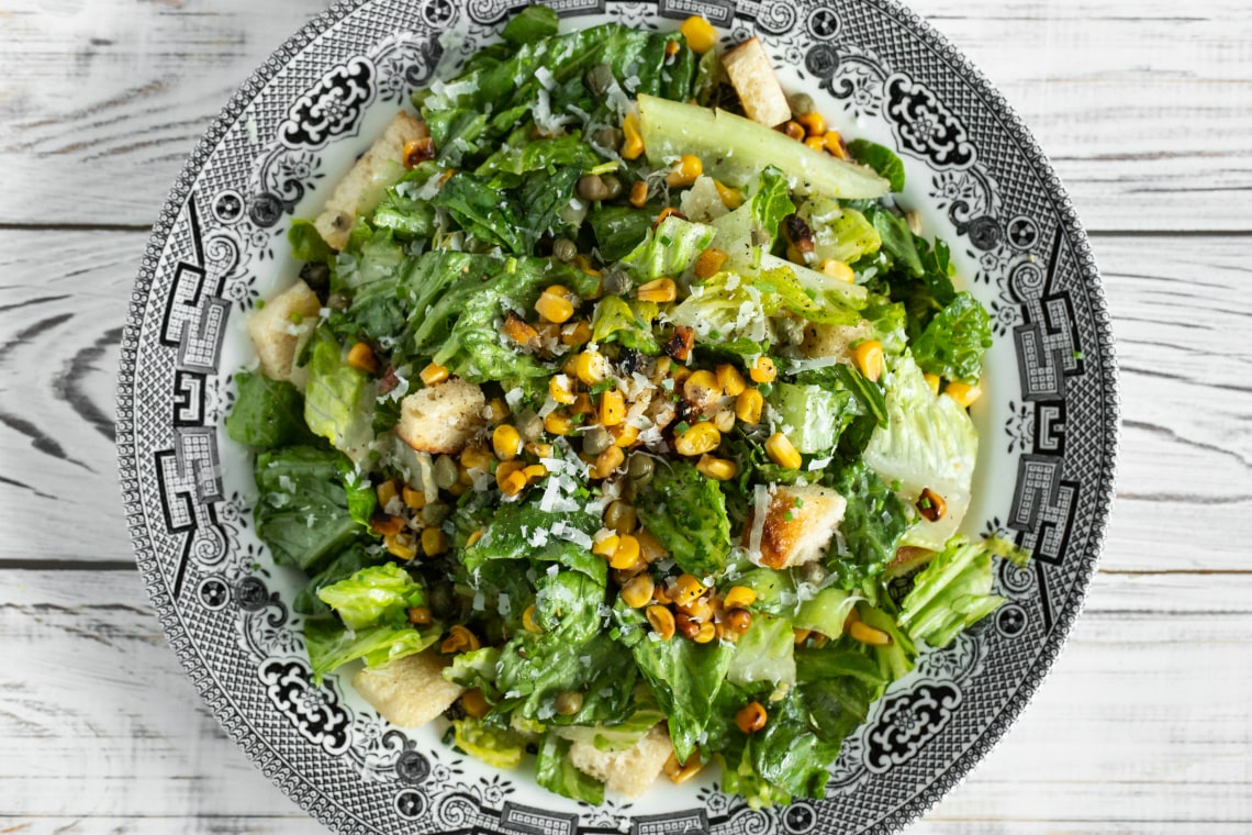 Grilled Corn Caesar Salad with Fried Capers