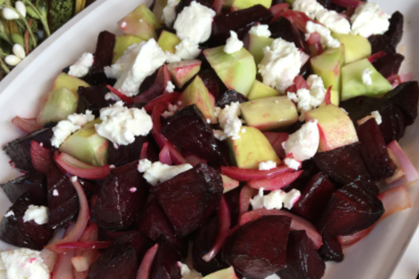 Image forBalsamic Roasted Beet Salad with Cucumbers and Goat Cheese