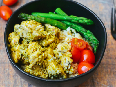 Image forChicken Pesto Buddha Bowls with Asparagus and Brown Rice