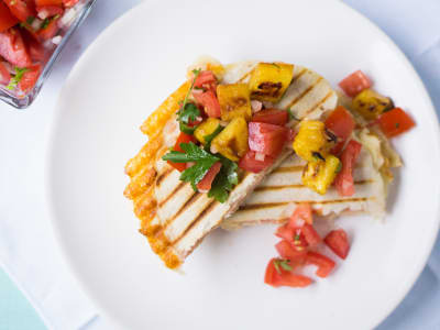 Image forMexican Sincronizadas with Grilled Pineapple Pico de Gallo