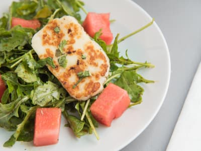 Image forWatermelon and Halloumi Salad with Pomegranate Dressing