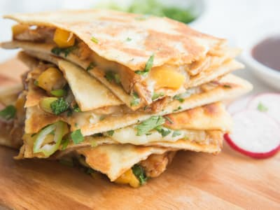 Image forBarbeque Chicken Quesadilla with Papaya and Brie