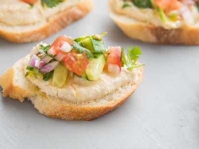 Image forMediterranean Bruschetta Hummus Bites