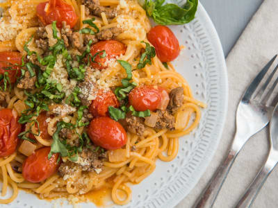 Image forOne-Pot Spaghetti with Beefy Tomato Sauce
