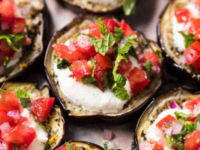 Image forRoasted Eggplant with Mint, Tomato, and Ricotta