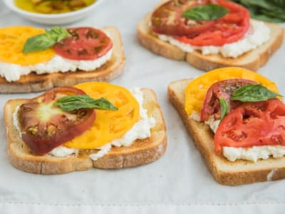 Image forOpen-Faced Ricotta and Heirloom Tomato Sandwiches