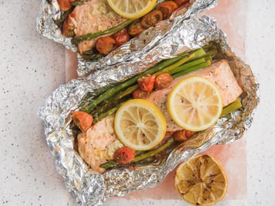 Image forGrilled Salmon and Asparagus Foil Packets