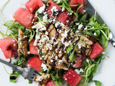 Image forWatermelon and Arugula Chicken Salad