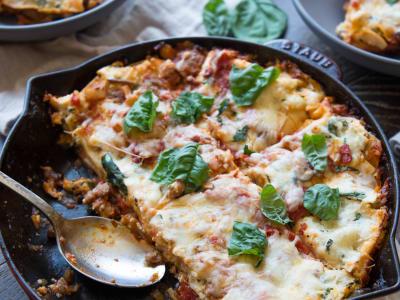 Image forCheesy Skillet Mushroom and Sausage Lasagna
