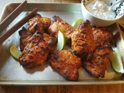 Image forTandoori Chicken Thighs with Radish and Toasted Mustard Seed Raita