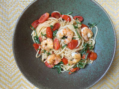 Image forSpaghetti with Shrimp, Cherry Tomatoes, Serrano and Basil