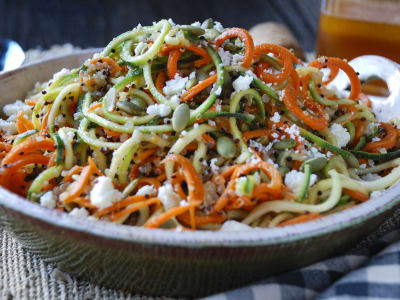 Image forQuinoa, Carrot, and Zucchini Noodles with Honey-Sriracha Dressing