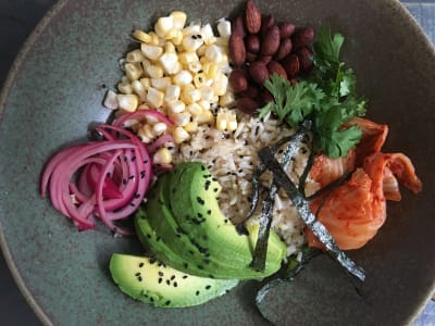 Image forBrown Rice Bowl with Avocado, Pickled Red Onions, and Lemon-Tahini Dressing