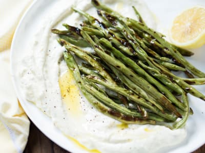 Image forGrilled Green Beans with Lemon Ricotta