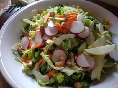 Image forCrunchy Savoy Cabbage Salad with Ginger-Turmeric-Tahini Dressing
