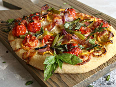 Image forRoasted Vegetable Cheese Pizza