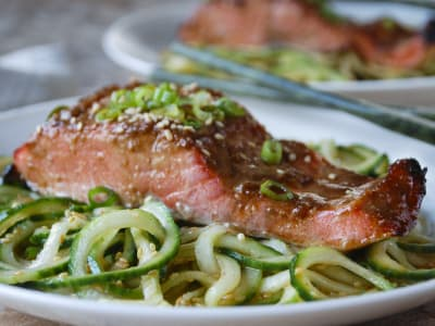 Image forMiso-Glazed Salmon with Spiralized Sesame Cucumber Noodles