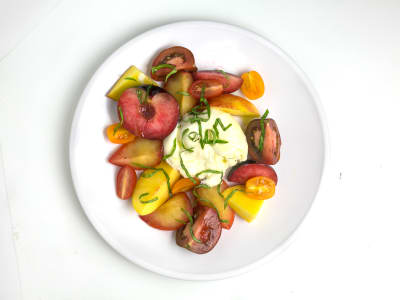 Image forStone Fruit-and-Burrata Caprese Salad