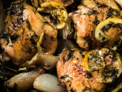 Image forRoasted Lemon-Tarragon Chicken Thighs