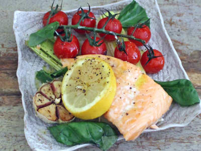 Image forOne-Pan Salmon with Leeks and Tomatoes