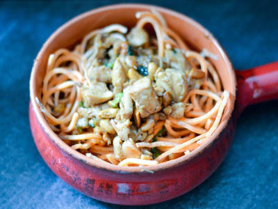 Image forOne-Skillet Cashew Chicken with Sweet Potato Noodles