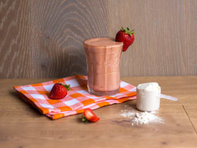Image forPeach Strawberry Protein Smoothie